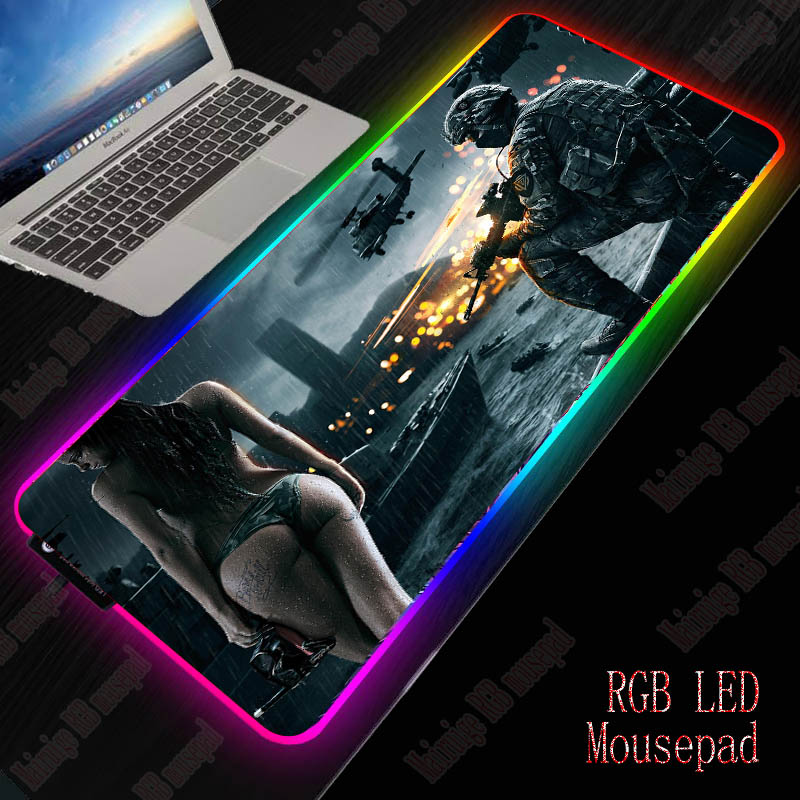 XGZ Battlefield Giel Gaming RGB Mouse Pad Gamer PC Computer Mousepad Backlit Mause Pad Large Mousepad Desk Keyboard LED Mice Mat