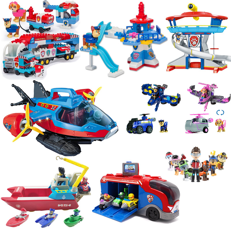 Paw Patrol Dog Toys Rescue Base Command Center Music Rescue Team BusToy Car Patrulla Canina Action Figures Children Xmas Gift