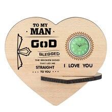 Для мужчин деревянные часы uinque в форме сердца на заказ текстовые