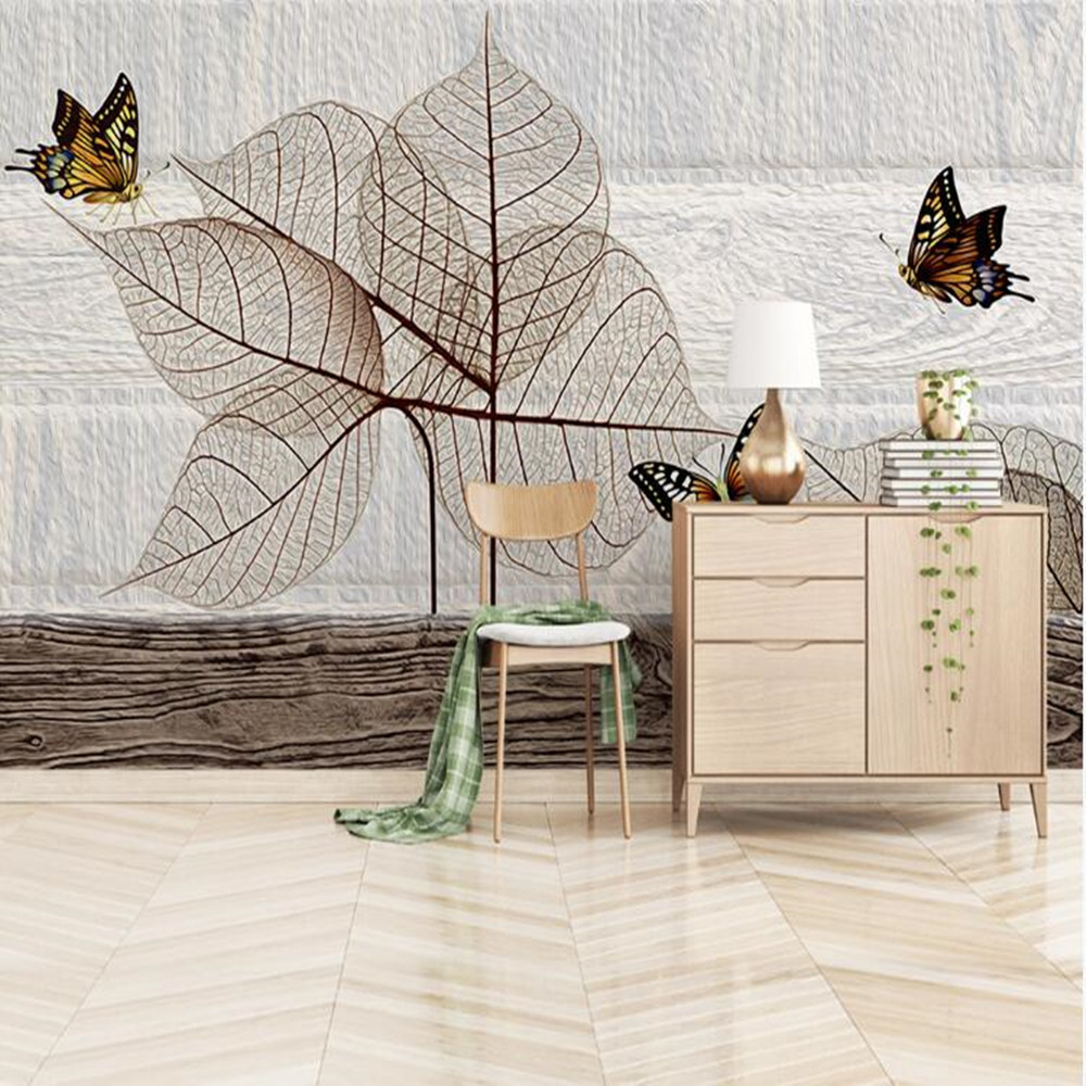 Milofi Custom 3D Nordic Hand-painted Plant Leaves Butterfly Large Background Wallpaper Mural
