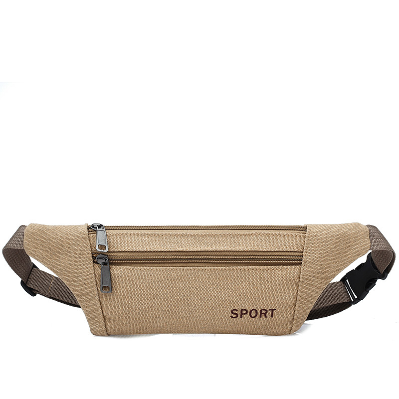 Men Canvas Waist Pack Crossbody Bag Body Hugging Mobile Phone Shock-resistant Bag Hidden Small Wallet Trend Small Shoulder Bag M