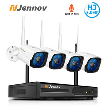 Jennov 4CH 5MP Audio Video Surveillance Wireless NVR Kit  Security Camera System CCTV Set H.264+ WiFi HD Outdoor IP Camera IP66