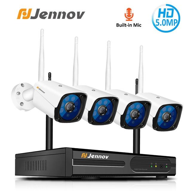 Jennov 4CH 5MP אודיו וידאו מעקב אלחוטי NVR ערכת אבטחת מצלמה מערכת CCTV סט H.264 + WiFi HD חיצוני IP מצלמה IP66