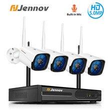 Jennov 4CH 5MP nadzór Audio wideo bezprzewodowy zestaw monitoringu NVR System kamer bezpieczeństwa CCTV zestaw H.264 + WiFi HD zewnętrzna kamera IP IP66