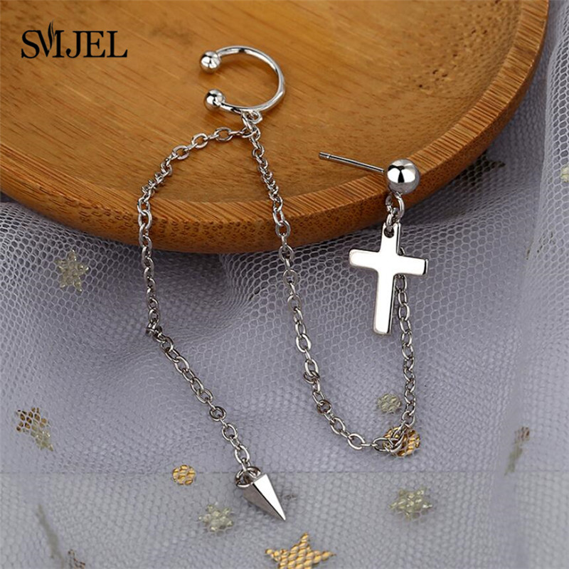 SMJEL Cross Earrings DNA Korean Fashion Long Men Boys V DNA Stud Earring For Women Men Kpop Earings Friendship Gift Ear Piercing