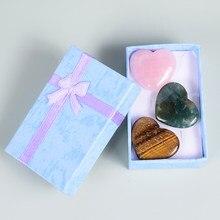 3 misturado coração-em forma de pedra natural cristal e quartzo forma do coração estatueta favores do casamento presentes cura reiki decoração acessórios