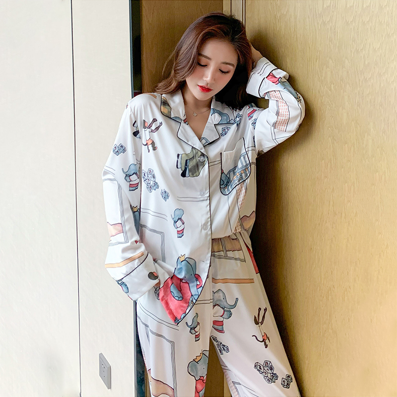Spring Autumn New 2PCS Pajamas Set Men&Women Sleepwear Shirt&Pants Satin Lovers Sleep Set Home Clothes Casual Nightwear Bathrobe