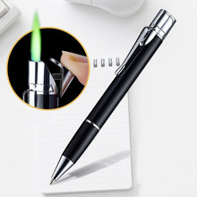 Creative Signature Pen Torch Lighter Pocket Ultra Thin Long Strip Metal Jet Butane Cigarette Lighter Turbo Straight Fire Lighter