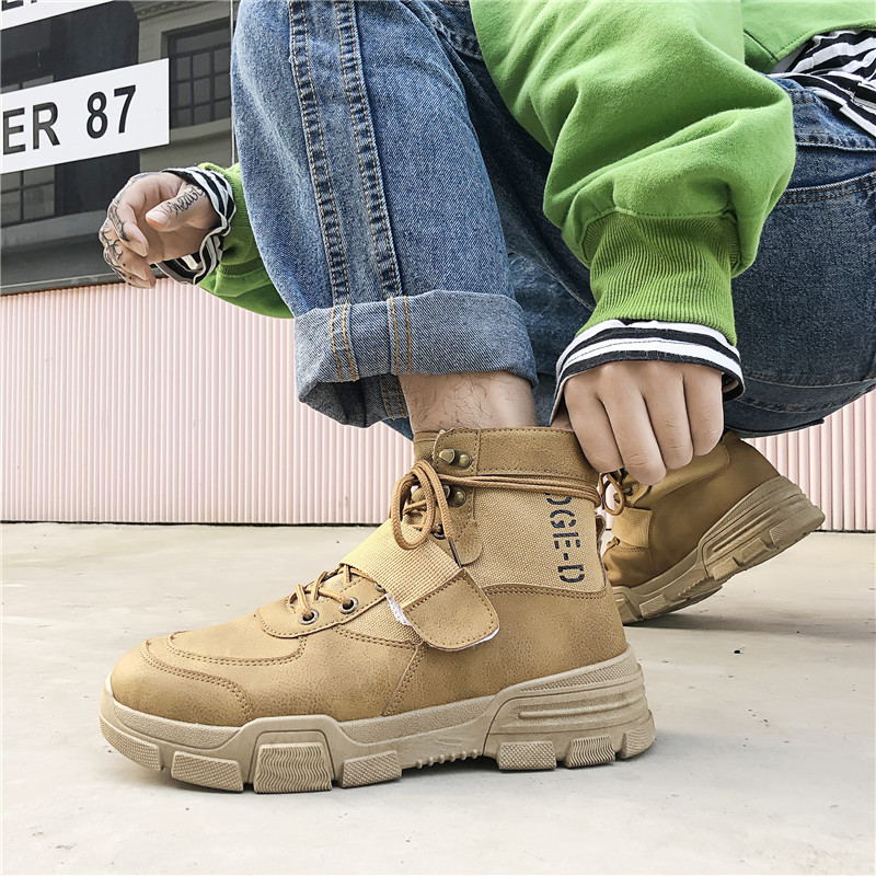 2019 autumn and winter new casual men's boots high to help Martin boots Hong Kong men's shoes fashion trend ins ankle boots