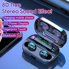 Смарт-сенсорный Bluetooth-гарнитура Беспроводной зарядки шумоподавления светодиодный двойной дисплей силы магнит с подвижной катушкой