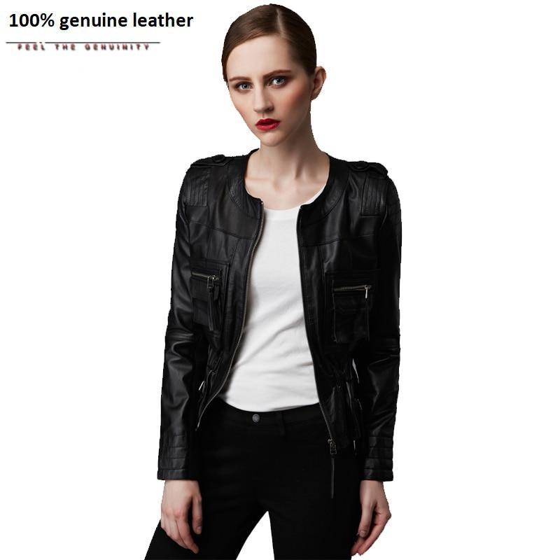 Women's Leather Jacket 100% Sheepskin Black Red Slim Spring Autumn Ladies Leather Coat Lambskin Female Jaqueta M164