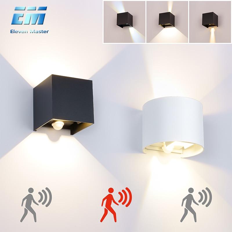 Lámpara de pared al aire libre impermeable IP65 7W/10W Luz de porche AC90-260V lámpara de jardín decoración Sensor de movimiento luz de pared nocturna ZBW0002