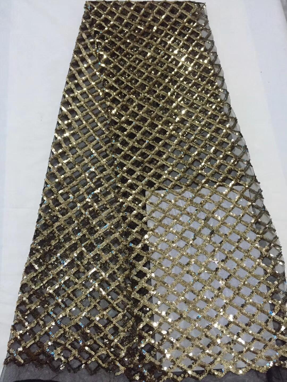 Tissu en dentelle de qualité africaine à paillettes dorées avec Blouse en filet broderie nigéria pour femmes robes de mariée tissus CD21861-in Dentelle from Maison & Animalerie    1