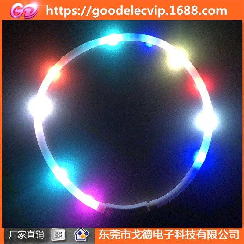 New Style LED Tube Charging Silica Gel Dog Collar Creative Charging Dog Collar Dog Traction Decorations