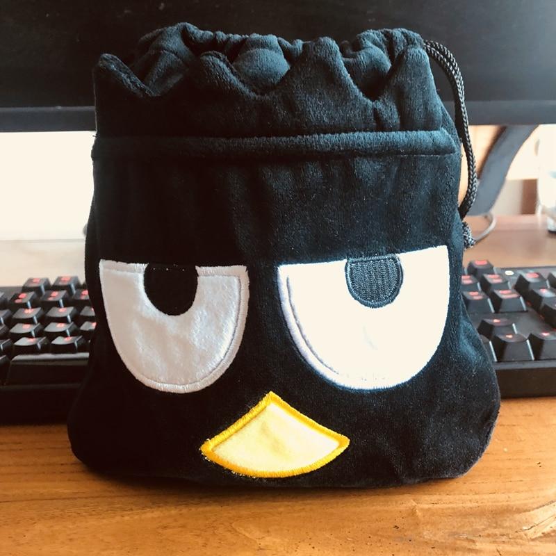 Black Penguin Anime Drawstring Bags Plush Storage Handbags Makeup Bag Coin Purses Unisex NEW