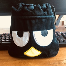 black penguin Anime Drawstring Bags Plush storage handbags makeup bag