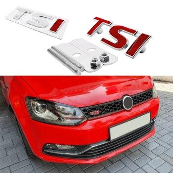 цена на TSI Car Front Grille Emblem For vw Volkswagen Polo Golf 5 7 Tiguan Passat b5 b6 Jetta Bora Touareg Vento Auto Sticker Styling