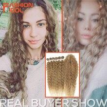الأزياء المعبود الأفرو غريب مجعد الشعر مع إغلاق للنساء السود لينة طويلة 30 بوصة أومبير الذهبي الاصطناعية الشعر الحرارة مقاومة