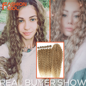 FASHION IDOL Afro Kinky Curly Hair Bundles Extensions With Closure Ombre Golden 30inch Soft Super Long Hair Synthetic Wave Hair(China)