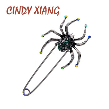 цена на CINDY XIANG 4 Colors Available Rhinestone Spider Brooches For Women Large Pin Brooch Fashion Insect Brooch High Quality New