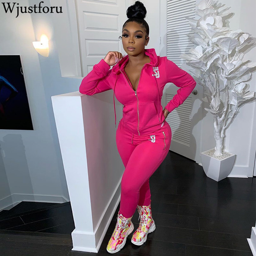 Wjustforu Winter Casual Hoodies Tracksuit For Women ZIP Neck Sweatshirt + Pencil Pants Female 4 Color Sport Two Piece Set Slim