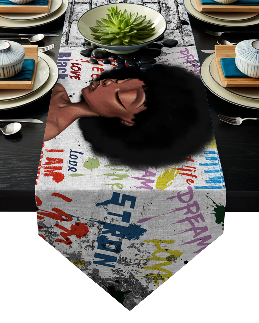 African Girl Street Graffiti Wall Table Runner Table Flag Home Party Decorative Tablecloth Table Runners