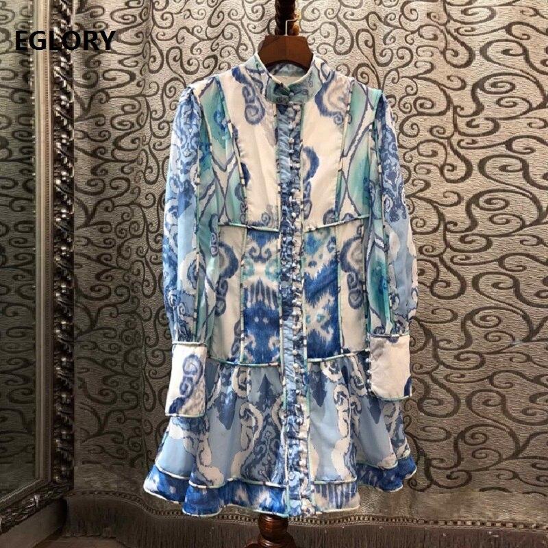 Haute qualité robe de créateur 2019 automne Style femmes col montant impression abstraite Vintage boutons jusqu'à manches longues robe au-dessus du genou