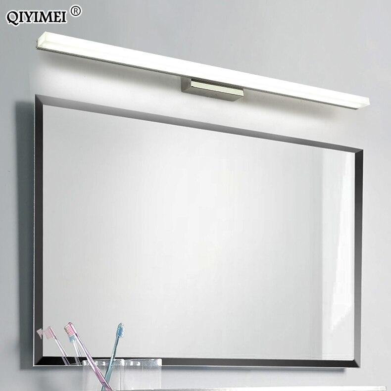 Diodo emissor de luz espelho de aço inoxidável AC85-265V moderna lâmpada de parede luzes do banheiro 40cm 60cm 80cm 100cm 120cm arandelas de parede apliques