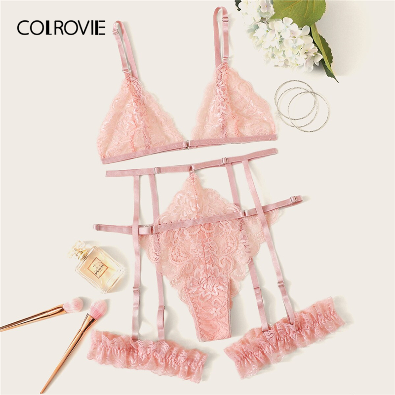 COLROVIE Pink Scalloped Trim Floral Lace Garter Lingerie   Set   Women Bralettes Intimates 2019   Bra   And Thongs Ladies Sexy   Sets