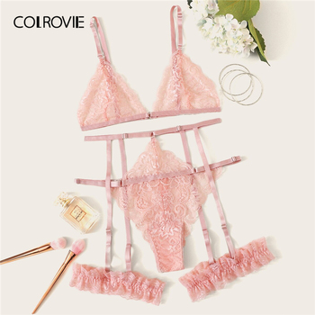 цена на COLROVIE Scalloped Trim Floral Lace Garter Lingerie Set Women Bralettes Intimates 2019 Bra And Thongs Ladies Sexy Sets