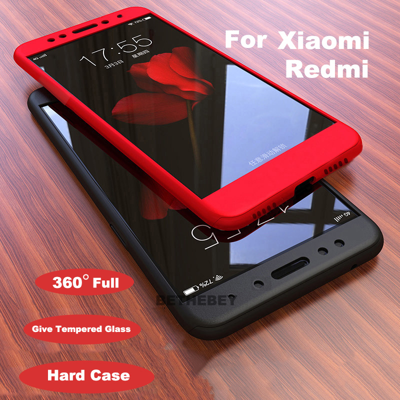 360 Degree Full Case For Redmi GO 7 Note 7 6 Pro Cover For Redmi 5A 6 PRO Front+Back Double-sided 9H Tempered Glass Case Cover