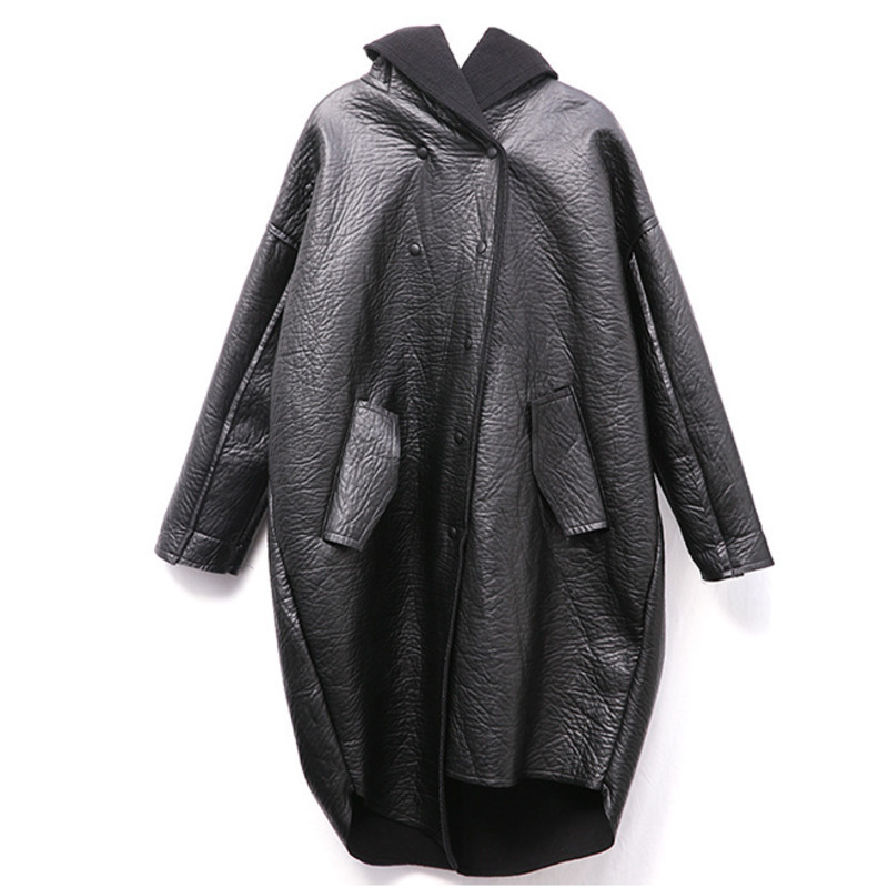 [EAM] Loose Fit Hooded Black Pu Leather Thick Oversize Jacket New Long Sleeve Women Coat Fashion Tide Autumn Winter 19 JG637 11