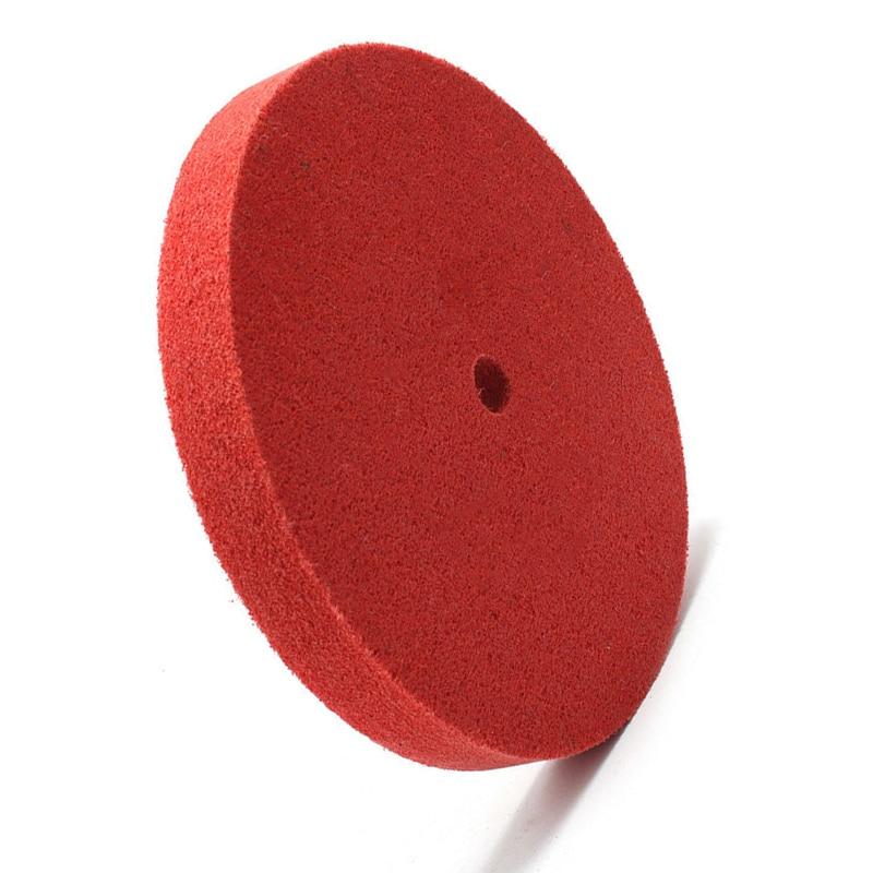 1Pc 200mm Round Red Nylon Fiber Polishing Wheel Felt Buffing Polishers Pad Buffer Disc Tools