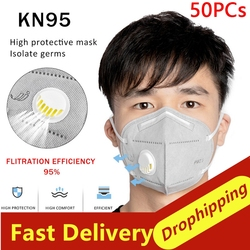 50Pcs Prevent Flu KN95 Face Mask N95 Respirator Dust Mouth Masks Formalde Hyde Bacteria Proof Safety As KF94 ffp2 Dropshipping 1