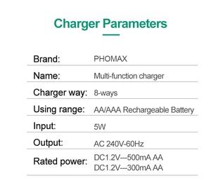 Image 5 - PHOMAX 5 ワット 2.4V 8 スロット EU プラグ LED スマートディスプレイ急速充電器 AA AAA ニッケル水素/ニカド cd のおもちゃのカメラ充電式バッテリー充電器ホワイト