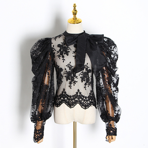 Image 3 - GALCAUR Embroidery Lace Womens Blouses Bowknot Collar Lantern Long Sleeve Perspective Shirts Female 2020 Fashion Clothing Tide
