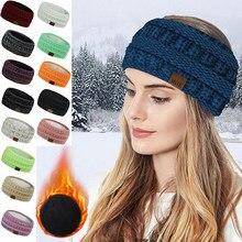 Grande tricô de lã bandana inverno quente orelha feminino engrossar turbante acessórios para o cabelo da menina faixa de cabelo headwrap orelha mais quente
