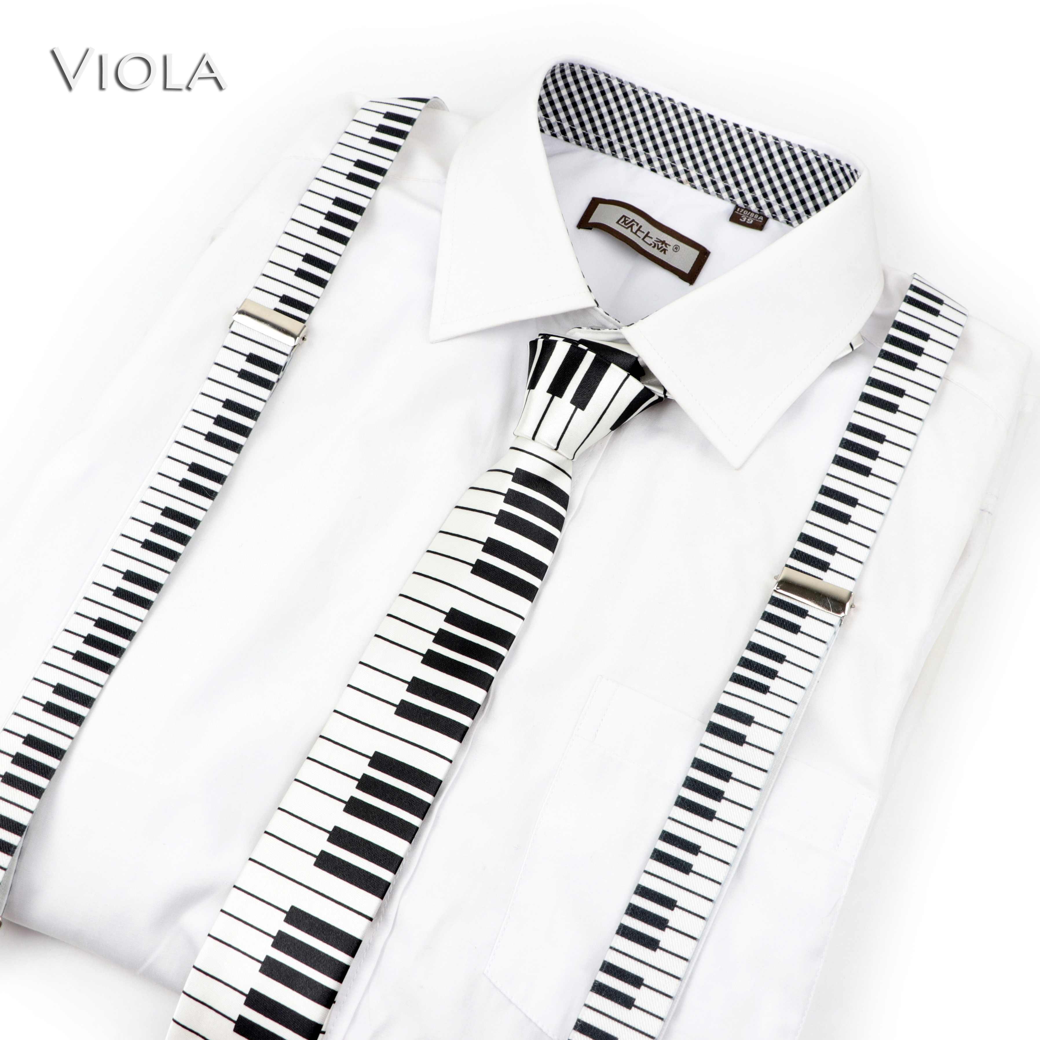 Mens Women Kids Music Piano military Printed Suspenders Tie Bow Tie Sets Party Play Shirt Braces Butterfly Belt Pants Jeans Gift(China)