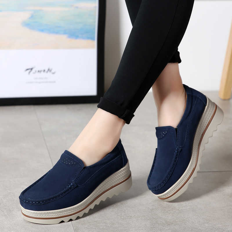 2019 frühling Frauen Wohnungen Schuhe Plattform Turnschuhe Slip Auf Wohnungen Leder Wildleder Damen Loafers Mokassins Casual Schuhe Frauen Creepers