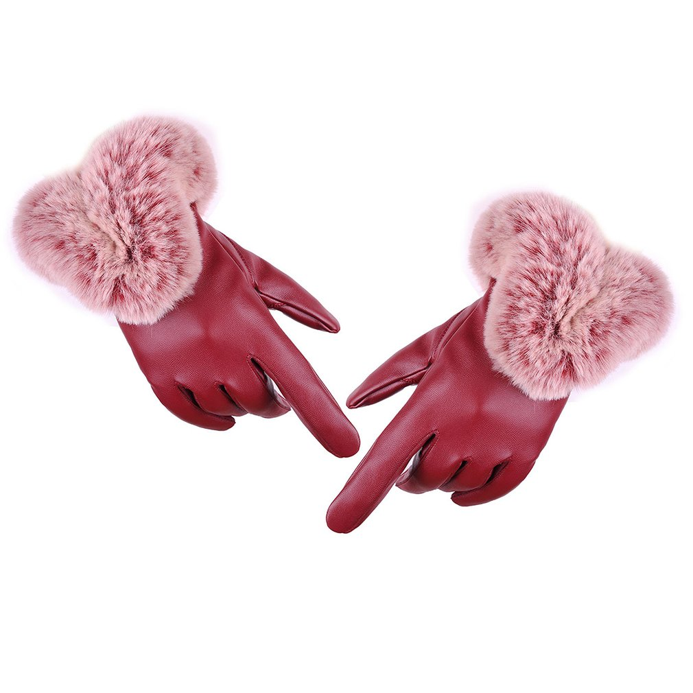 Fashion Women Warm Thick Winter Gloves Leather Elegant Girls Brand Mittens Free Size With Faux  Rabbit Fur Female Gloves
