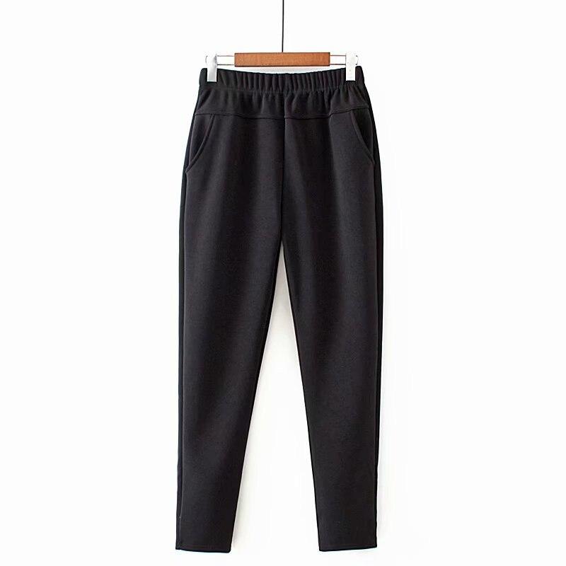 Women Winter Thick Fleece Warm Pants Elastic Waist Sports Casual Pants Large Size XXXL-5XL Solid Trouser
