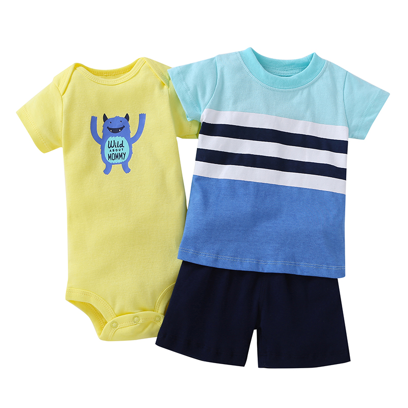 3 pcs suit Newborn Baby Romper Summer Set 17