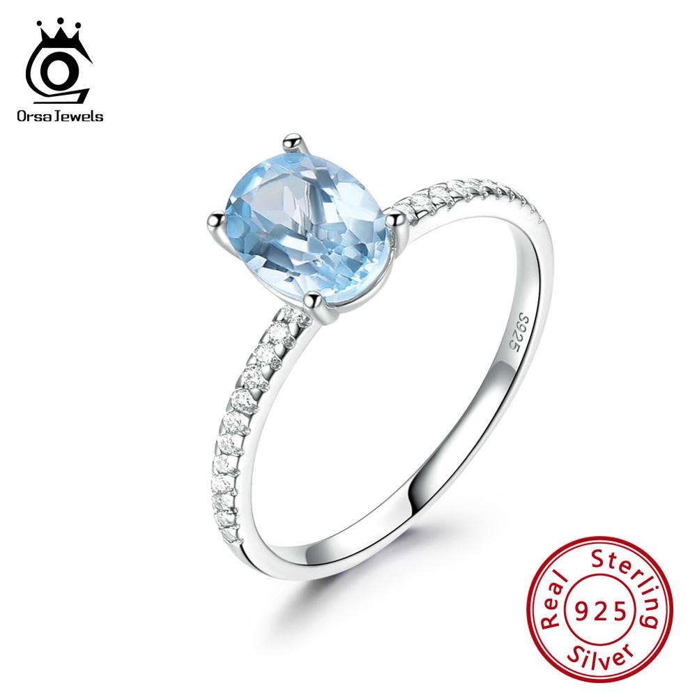 ORSA JEWELS Exquisite 100% Real 925 Sterling Silver Women Sky Blue Topaz Ring Oval Cut Eternity Ring Wedding Fine Jewelry VSR21
