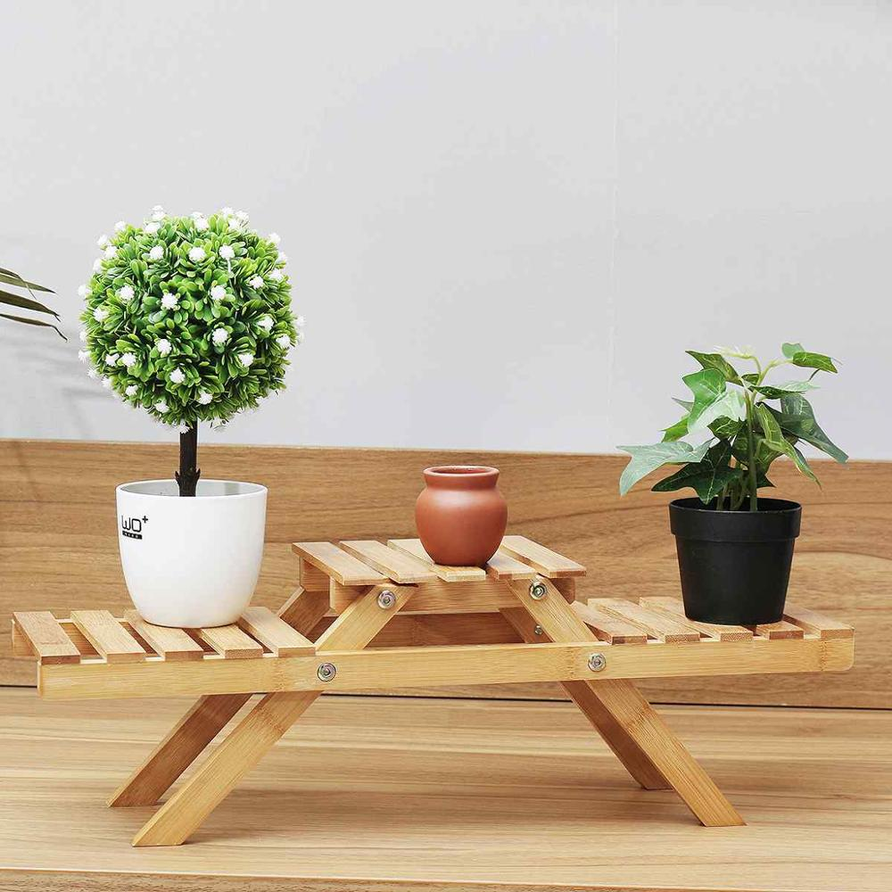 Завод цветок стенд полка для растений полка бамбуковая Складная подставки под горшки плантатор стеллаж для хранения дисплей стеллаж