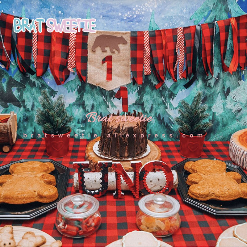 lumberjack party banners buffalo plaid bear tree garland baby boy 1st birthday party decorations happy birthday cake toppers