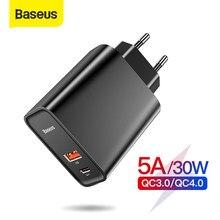 Baseus – Chargeur de téléphone rapide, avec port USB 3.0 et Type-C 4.0, pour Redmi Note 7 Pro, 30W PD, Huawei P30, iPhone 11 Pro,