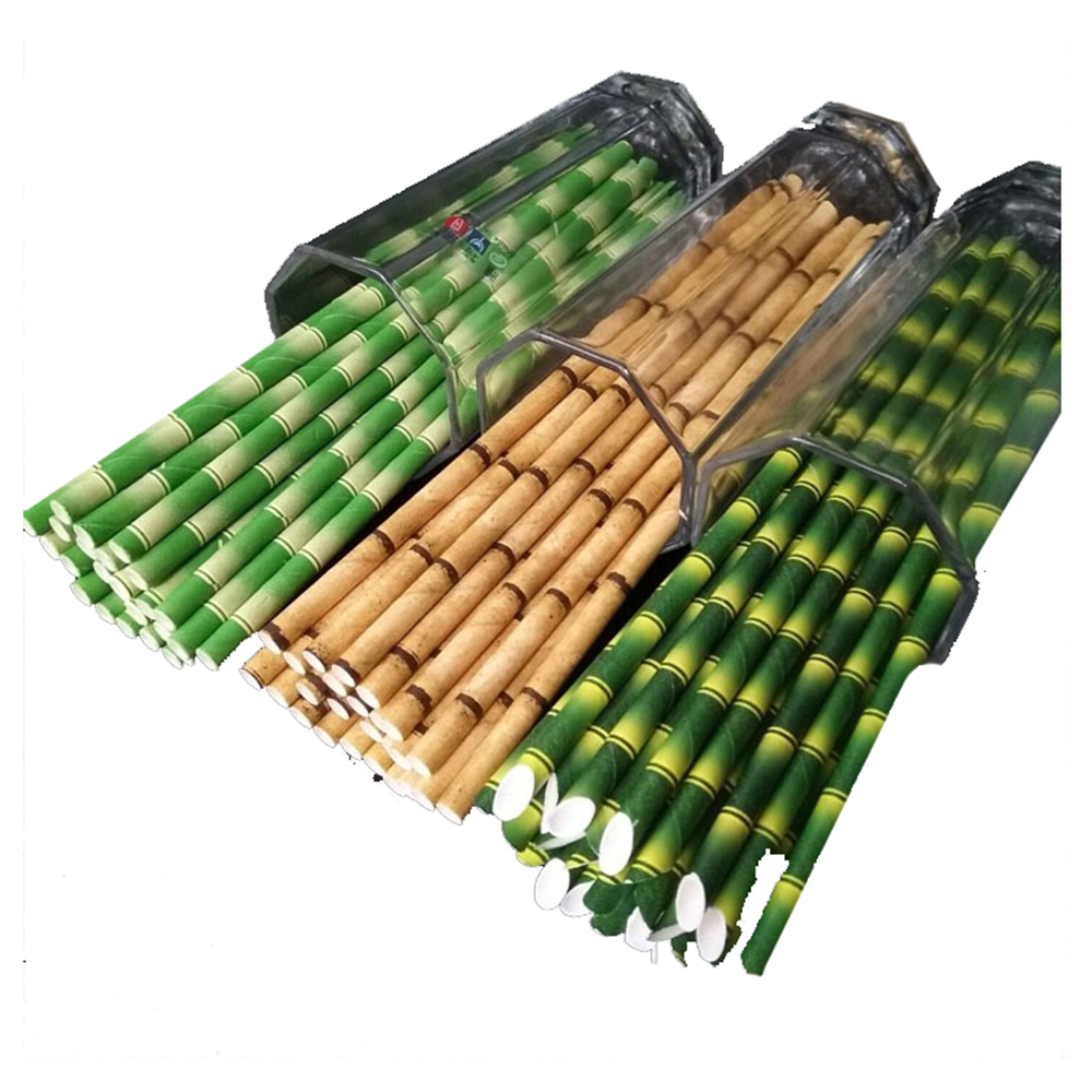 25 Pieces Biodegradable Paper Straws Bamboo Straws For Banquet Drinks Reusable Coffee Straws Bar Supplies