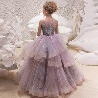 New Style Europe And America Lace Dress INS Girls Evening Dress Children Autumn Clothing Catwalks Host Performance Princess Skir
