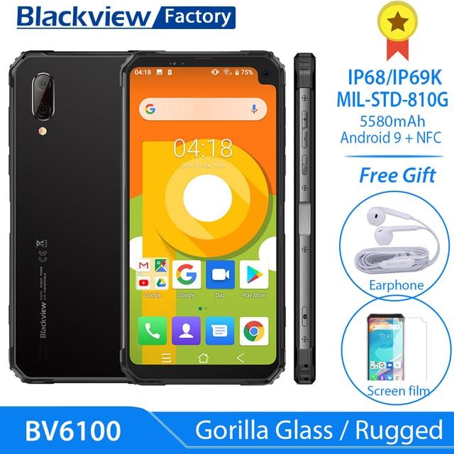 """Blackview BV6100 6.88 """"ゴリラスクリーン堅牢スマートフォン 3 ギガバイト + 16 ギガバイトの Android 9.0 IP68 防水携帯電話 5580 mAh NFC 携帯電話"""