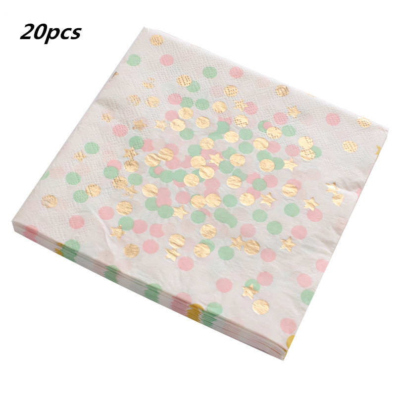 20pcs /lot Gold Foil Dot Paper Napkin Plate Cups For Boy Girl Gender Reveal Party Tissue Napkin Decoration Serviettes 33*33cm